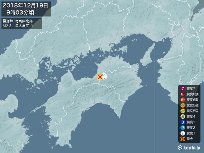 地震情報(2018年12月19日09時03分発生)