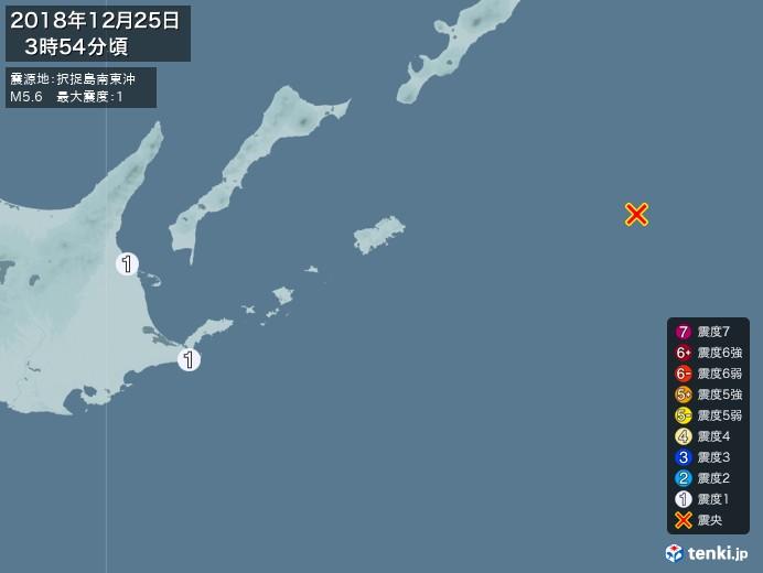 地震情報(2018年12月25日03時54分発生)