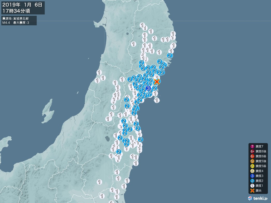 地震情報 2019年01月06日 17時34分頃発生 最大震度:3 震源地:宮城県北部(拡大画像)
