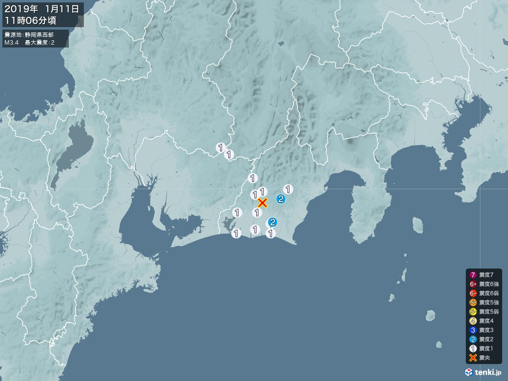 地震情報 2019年01月11日 11時06分頃発生 最大震度:2 震源地:静岡県西部(拡大画像)