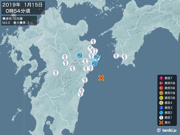 地震情報(2019年01月15日00時54分発生)
