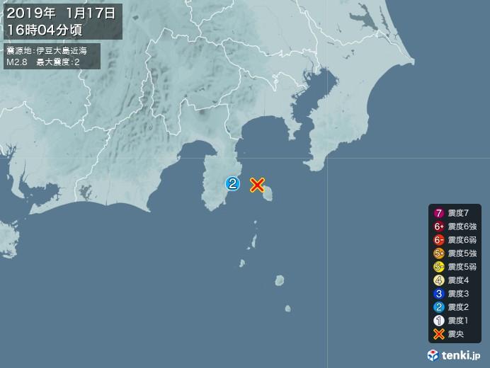地震情報(2019年01月17日16時04分発生)