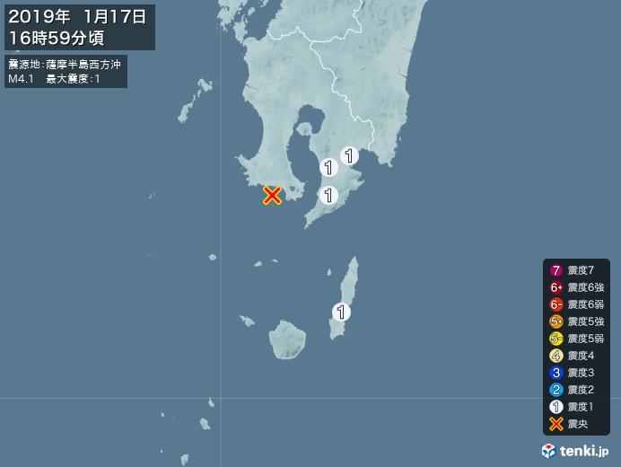 地震情報(2019年01月17日16時59分発生)