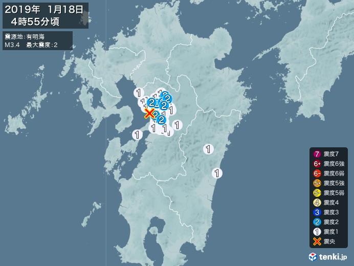 地震情報(2019年01月18日04時55分発生)