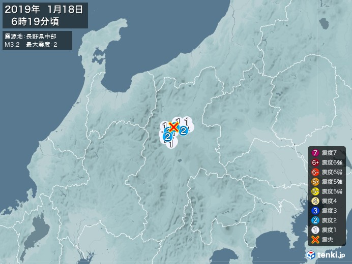 地震情報(2019年01月18日06時19分発生)