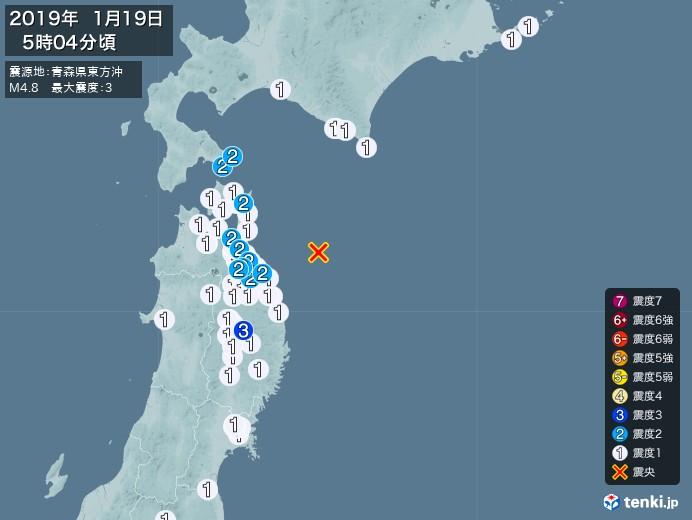 地震情報(2019年01月19日05時04分発生)