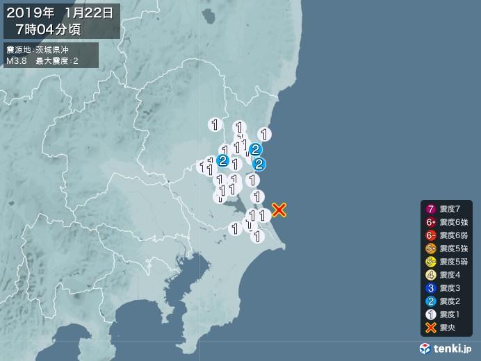 地震情報(2019年01月22日07時04分発生)