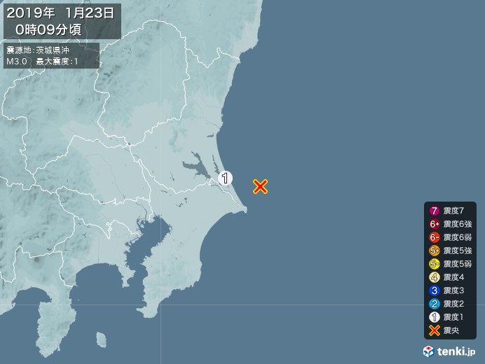 地震情報(2019年01月23日00時09分発生)