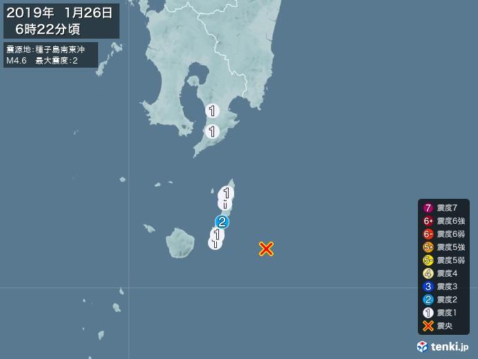 地震情報(2019年01月26日06時22分発生)
