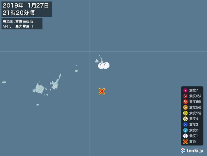 地震情報(2019年01月27日21時20分発生)