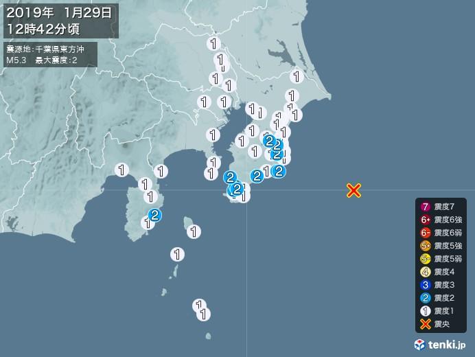 地震情報(2019年01月29日12時42分発生)
