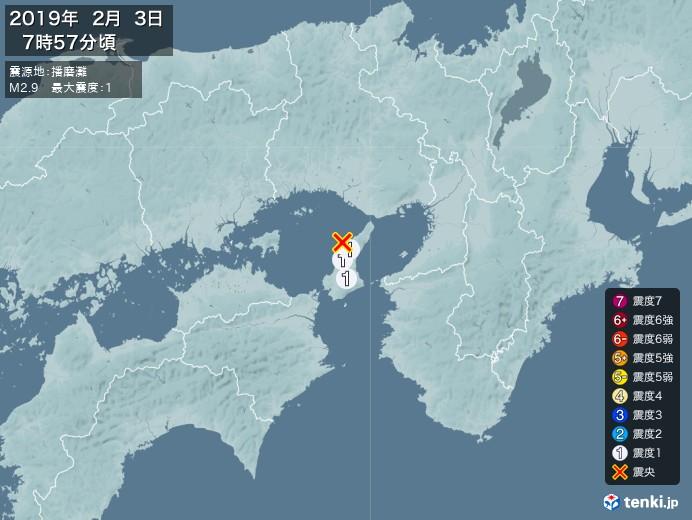 地震情報(2019年02月03日07時57分発生)