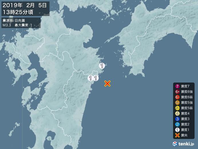地震情報(2019年02月05日13時25分発生)
