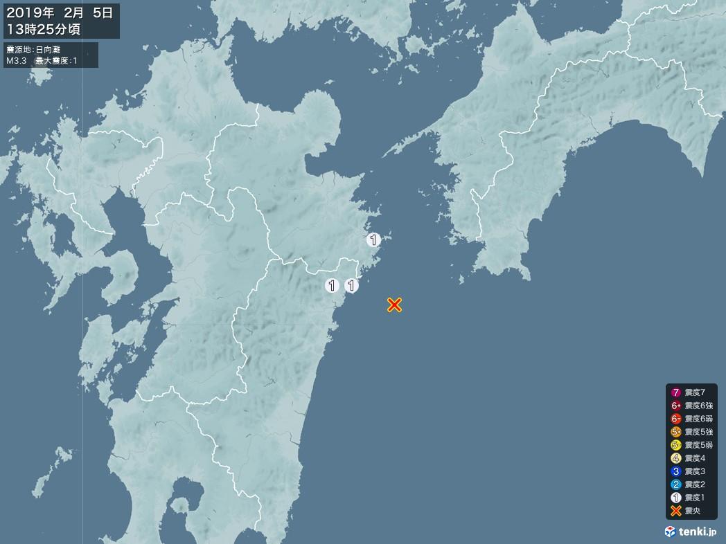 地震情報 2019年02月05日 13時25分頃発生 最大震度:1 震源地:日向灘(拡大画像)