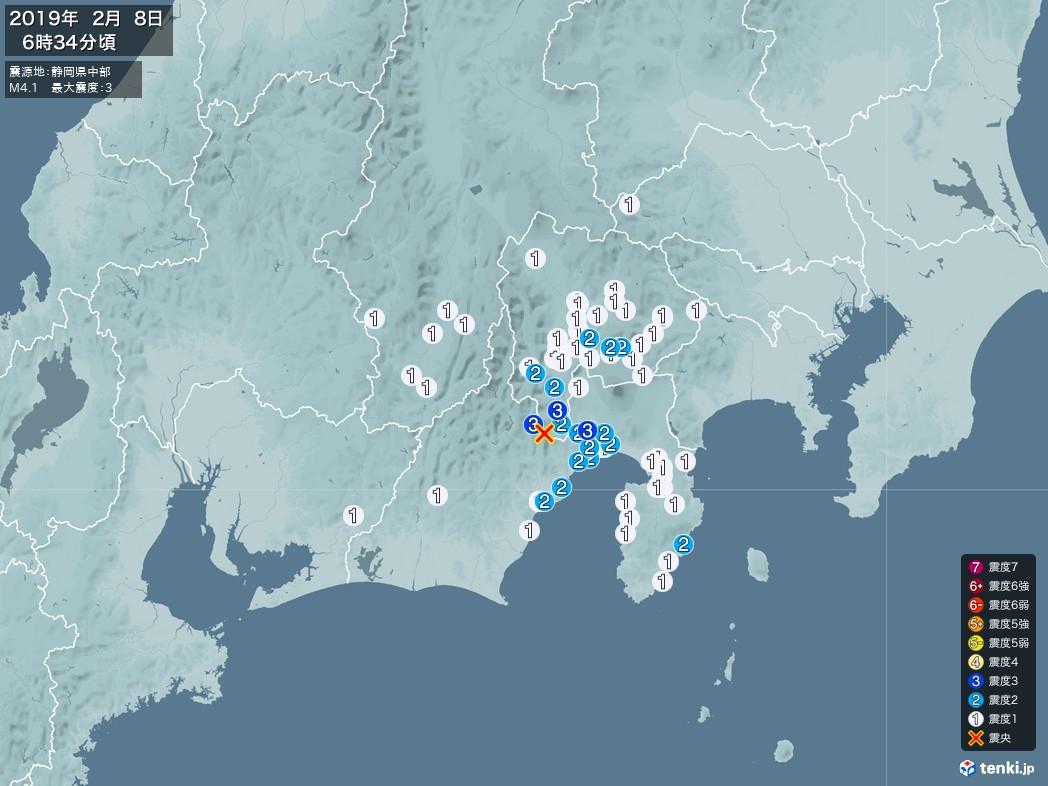 地震情報 2019年02月08日 06時34分頃発生 最大震度:3 震源地:静岡県中部(拡大画像)