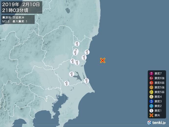地震情報(2019年02月10日21時03分発生)