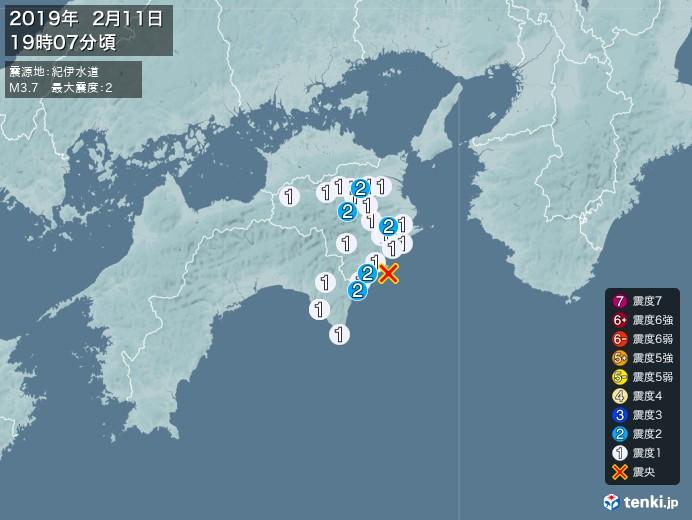 地震情報(2019年02月11日19時07分発生)