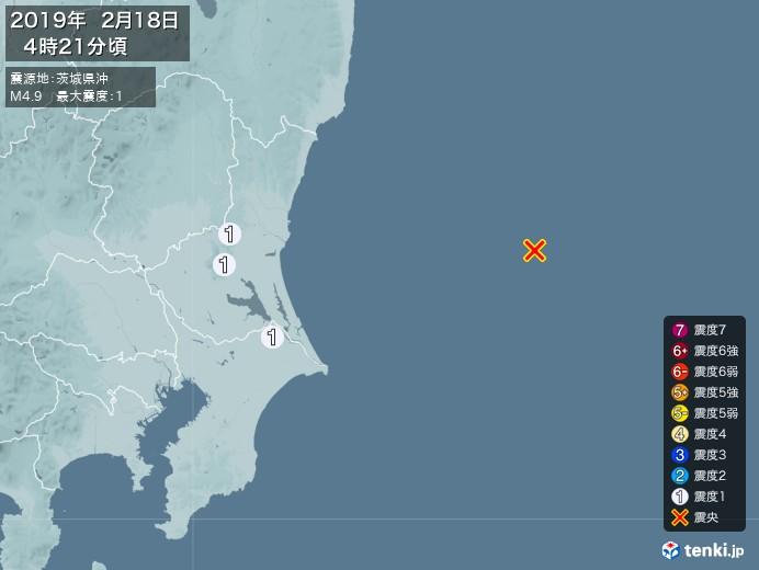 地震情報(2019年02月18日04時21分発生)