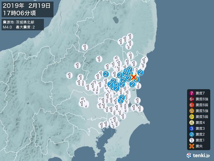 地震情報(2019年02月19日17時06分発生)
