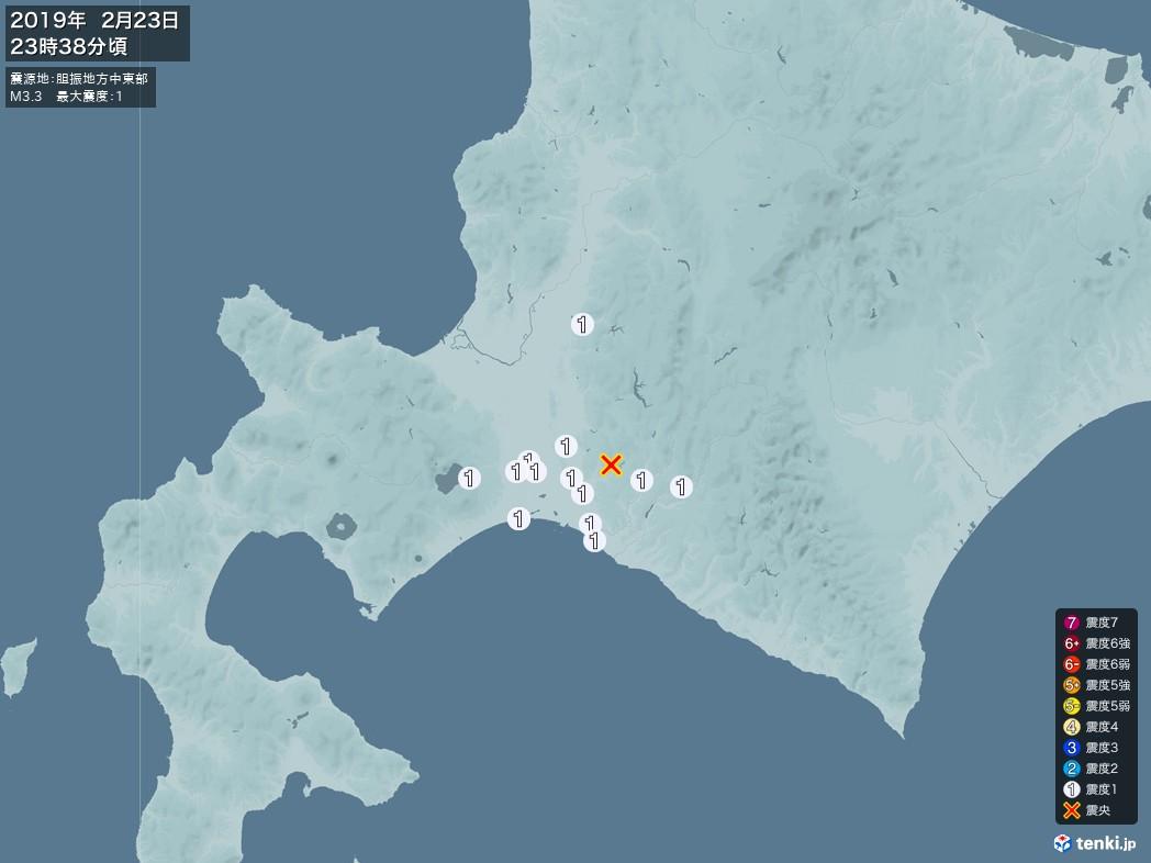 地震情報 2019年02月23日 23時38分頃発生 最大震度:1 震源地:胆振地方中東部(拡大画像)