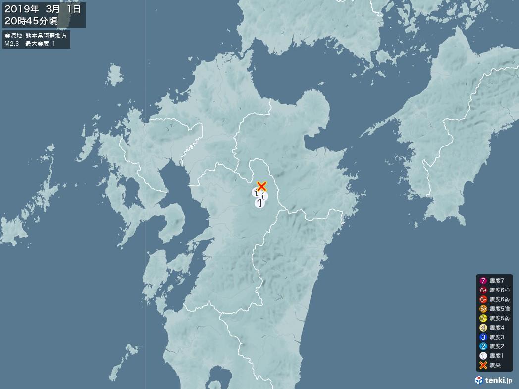地震情報 2019年03月01日 20時45分頃発生 最大震度:1 震源地:熊本県阿蘇地方(拡大画像)