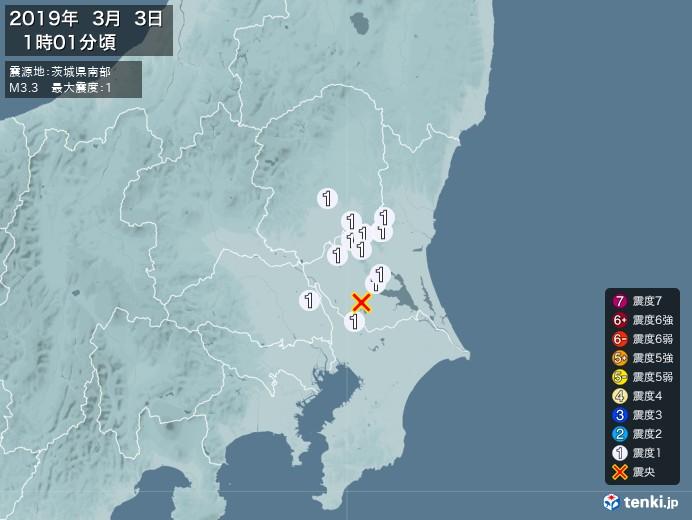地震情報(2019年03月03日01時01分発生)