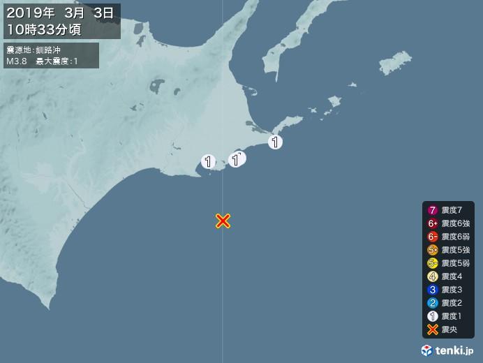地震情報(2019年03月03日10時33分発生)