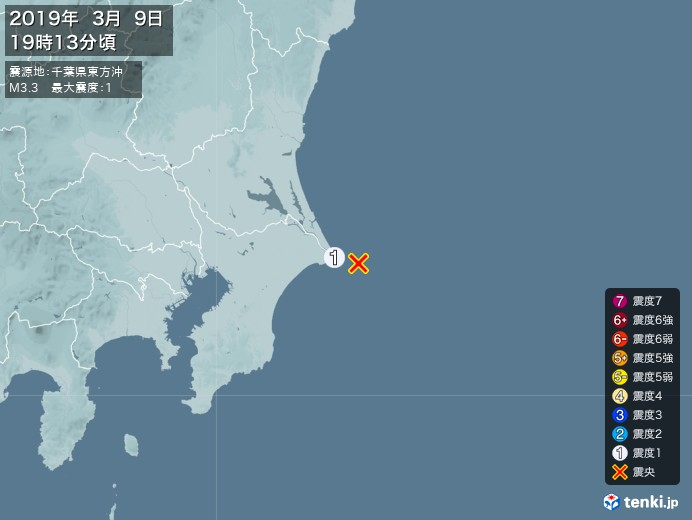 地震情報(2019年03月09日19時13分発生)