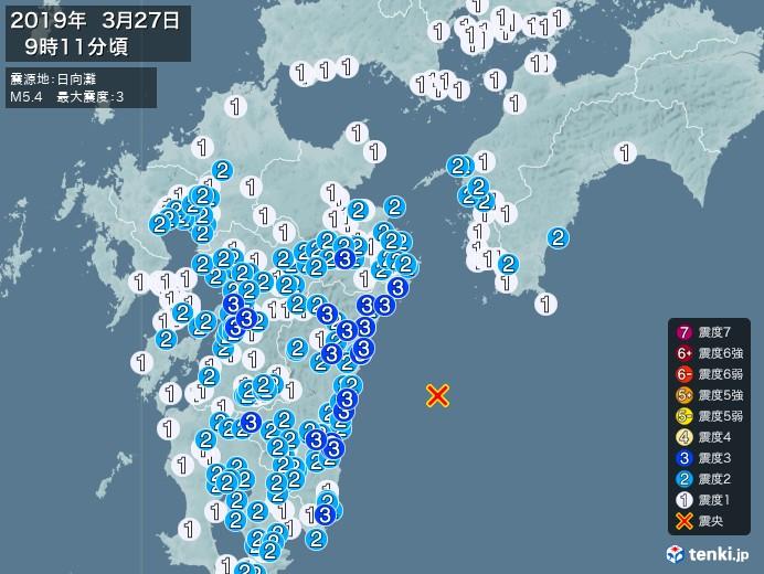 地震情報(2019年03月27日09時11分発生)