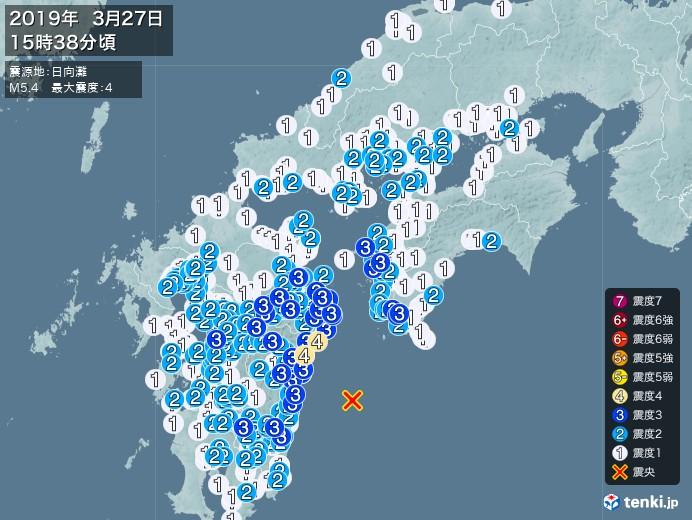 地震情報(2019年03月27日15時38分発生)
