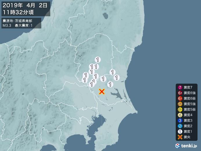 地震情報(2019年04月02日11時32分発生)