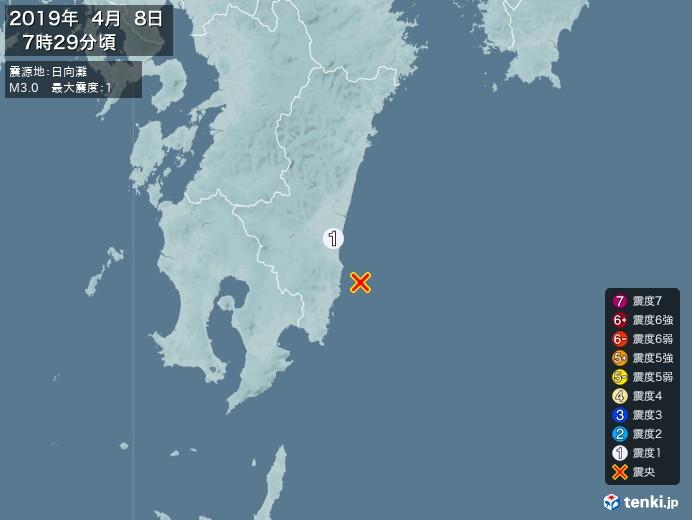 地震情報(2019年04月08日07時29分発生)
