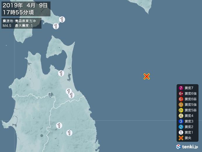 地震情報(2019年04月09日17時55分発生)