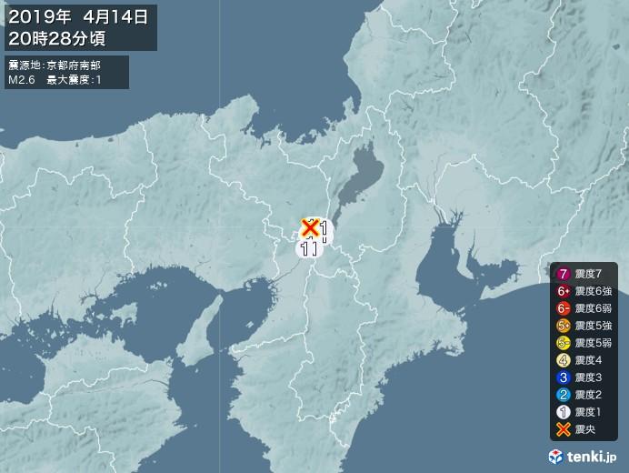 地震情報(2019年04月14日20時28分発生)