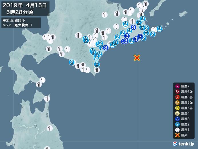 地震情報(2019年04月15日05時28分発生)