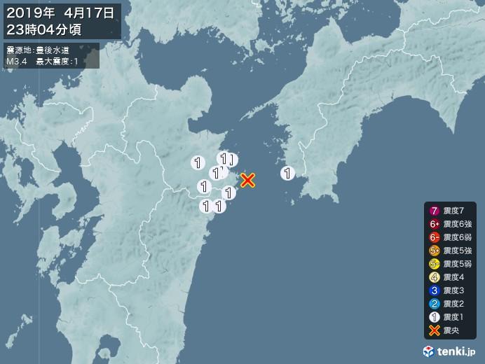 地震情報(2019年04月17日23時04分発生)