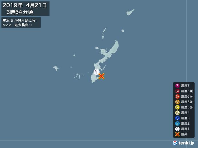 地震情報(2019年04月21日03時54分発生)
