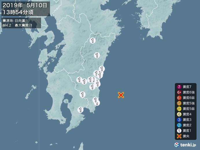 地震情報(2019年05月10日13時54分発生)
