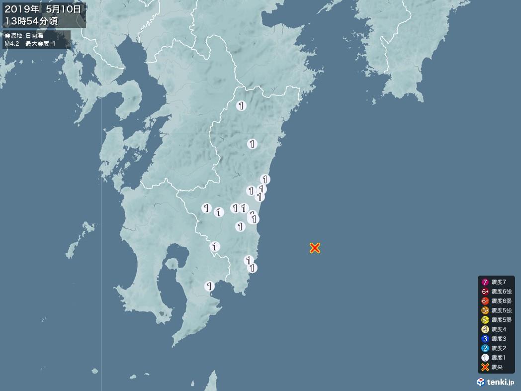 地震情報 2019年05月10日 13時54分頃発生 最大震度:1 震源地:日向灘(拡大画像)
