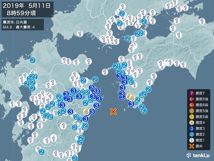 地震情報(2019年05月11日08時59分発生)