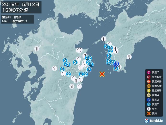 地震情報(2019年05月12日15時07分発生)