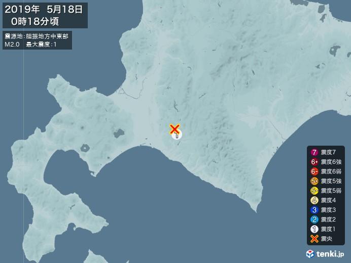 地震情報(2019年05月18日00時18分発生)