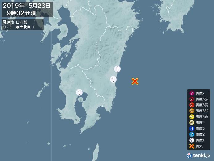 地震情報(2019年05月23日09時02分発生)