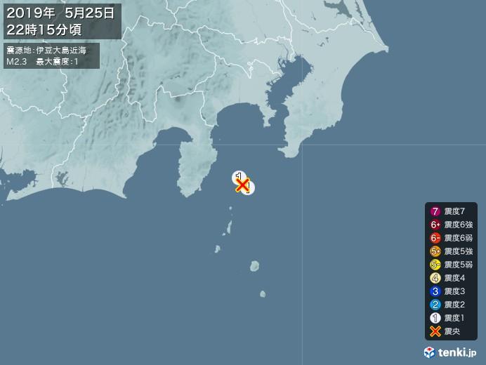 地震情報(2019年05月25日22時15分発生)