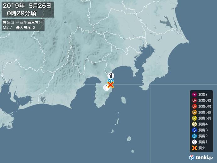 地震情報(2019年05月26日00時29分発生)