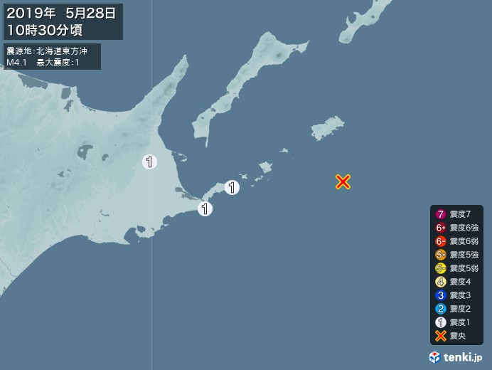 地震情報(2019年05月28日10時30分発生)