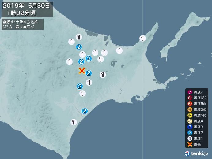 地震情報(2019年05月30日01時02分発生)