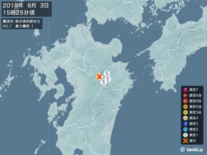 地震情報(2019年06月03日15時25分発生)