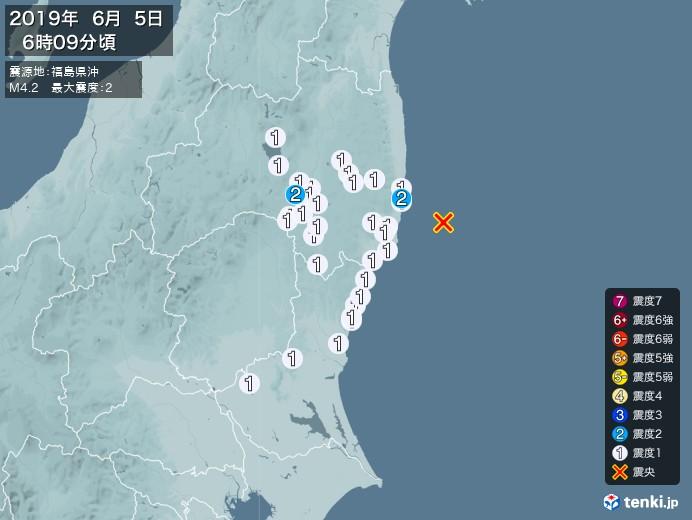 地震情報(2019年06月05日06時09分発生)