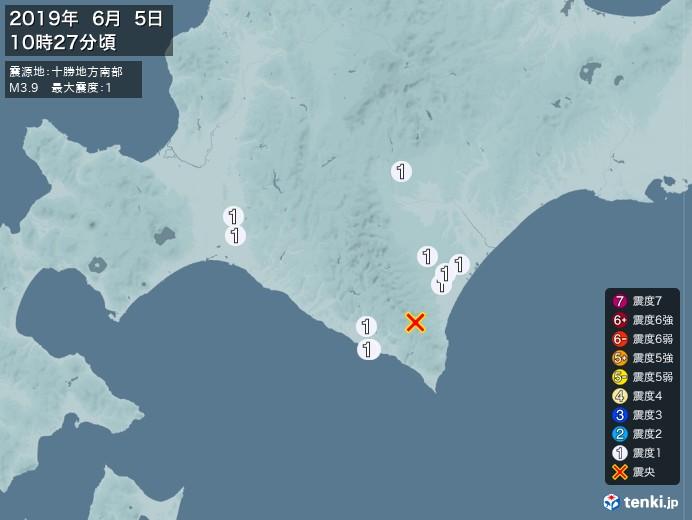 地震情報(2019年06月05日10時27分発生)